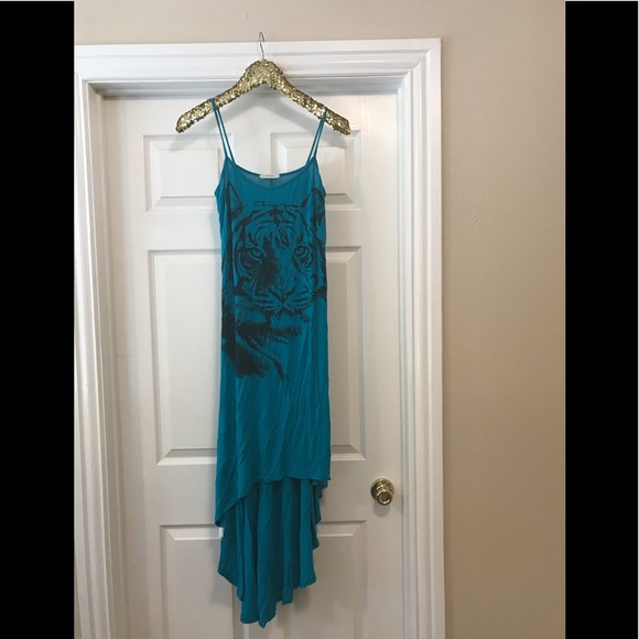 Dresses & Skirts - 3 for $25 Turquoise high/low tiger dress